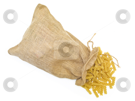 Pasta  stock photo, Sack of pasta against the white background by Sergej Razvodovskij
