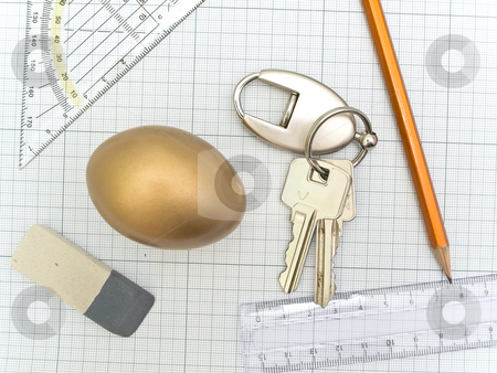 Tools  stock photo, Plotting paper with working tools eraser, ruler, pencil, key and golden egg by Sergej Razvodovskij