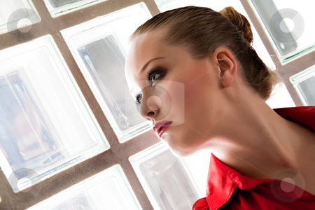 Stylish woman in red and black stock photo, Fresh colored portrait of a stylish woman by Frenk and Danielle Kaufmann
