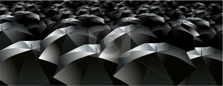Umbrellas brollys crowd rain stock vector clipart, Umbrellas brollies crowd rain dark by William Park