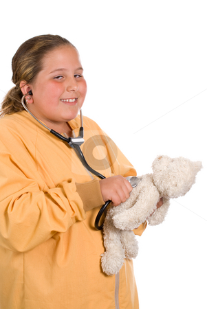Pretend stock photo, A young preteen playing with a stethoscope and checking the heart rate of her stuffed bear, isolated against a white background by Richard Nelson