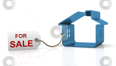 House for sale stock photo, House for sale with white tag and red letters by Nuno Andre