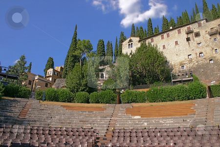 Amphitheatre of the Teatro Romano in Verona, Italy stock photo, Amphitheatre of the Teatro Romano in Verona, Italy, with the Archaeological Museum in the background by Stephen Goodwin