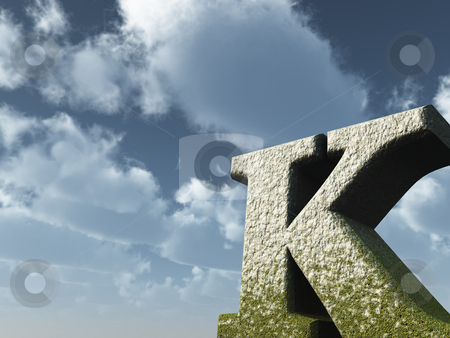 Letter k stock photo, Letter K rock in front of blue sky - 3d illustration by J?