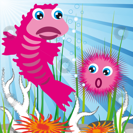 Sea creatures with sea bottom stock vector clipart, Sea scape bottom with fish and sea-urchin by Karin Claus