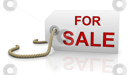 For sale tag in right position stock photo, For sale tag with white background and red letters in right position by Nuno Andre