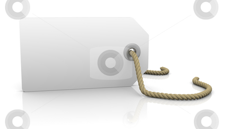 White tag stock photo, White tag with hole and rope to fill with lettering by Nuno Andre