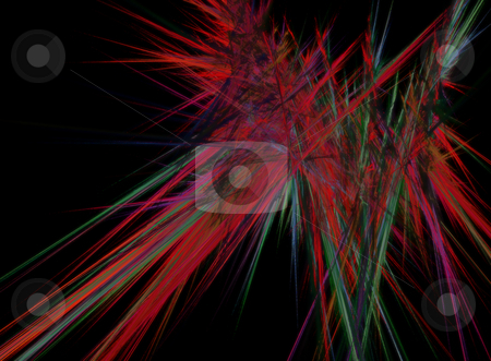 Strobo stock photo, Abstract colorful lines on black background - illustration by J?