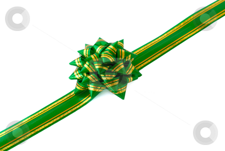 Gift ribbon and green bow  stock photo, Gift ribbon and green bow on a white background by Vladyslav Danilin