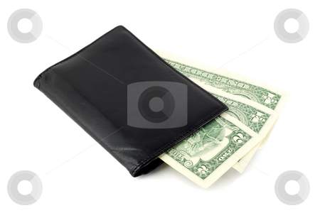 Leather purse stock photo, Leather purse with money isolated over white background by Vladyslav Danilin