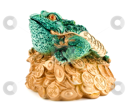 Frog symbol wealth stock photo, Frog symbol wealth close-up isolated on white background by Vladyslav Danilin