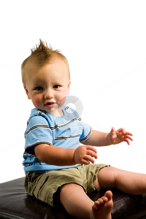 Baby Boy Portrait Isolated stock photo, A portrait of a cute nine month old baby boy isolated on a while background. by Travis Manley