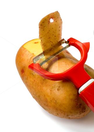 Knife for vegetable stock photo, Knife for vegetable in potato ,isolated on white by Vladyslav Danilin