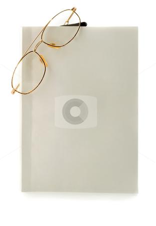 Glasses in blank white book stock photo, Glasses in blank white book by Vladyslav Danilin