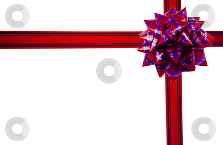 Gift stock photo, Red gift ribbon bow isolated on white background by Vladyslav Danilin