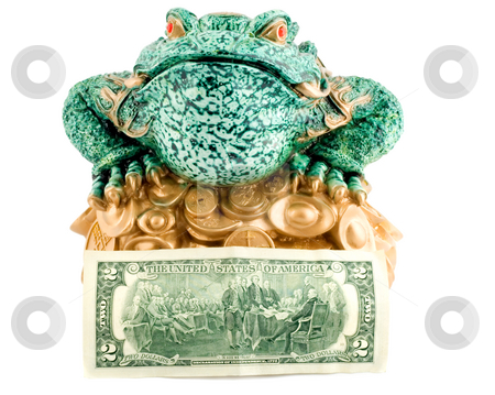 Frog 2 dollar symbol wealth stock photo, Frog 2 dollar symbol wealth close-up concepts isolated on white background by Vladyslav Danilin