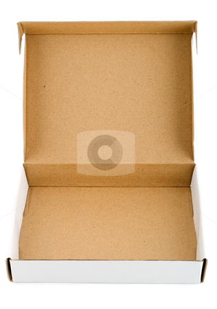 Pizza box stock photo, Pizza box paperboard blank empty , close-up isolated on white background by Vladyslav Danilin