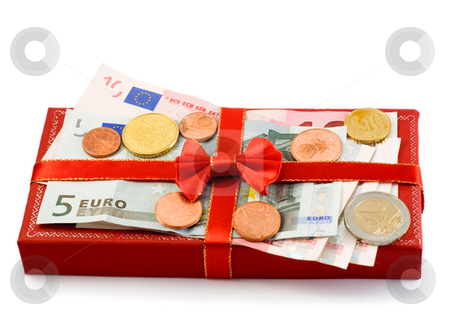 Gift red box  stock photo, Gift red box with euro currencyi solated on white background by Vladyslav Danilin