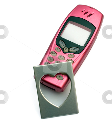 Rose telephone with photo by frame in the manner of heart stock photo, Rose telephone with photo by frame in the manner of heart,isolated in white background. by Vladyslav Danilin