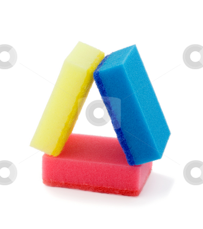 Housework stock photo, Housework,stack colorful sponges isolated on white background by Vladyslav Danilin