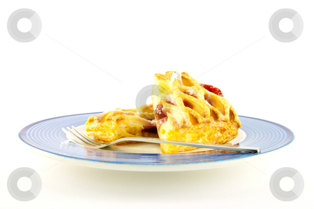 Raspberry Danish on a Plate stock photo, Raspberry and custard danish on a blue and white plate with a fork on a white background by Keith Wilson