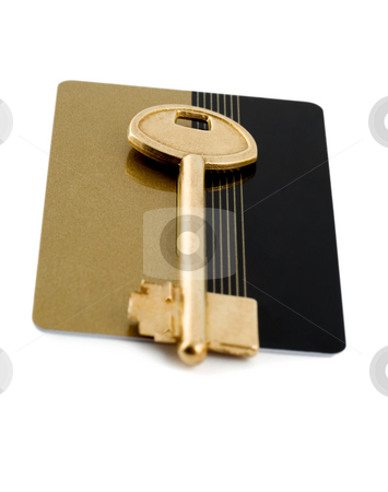 Credit cards and key   stock photo, Golden credit cards and golden key isolated on white background by Vladyslav Danilin
