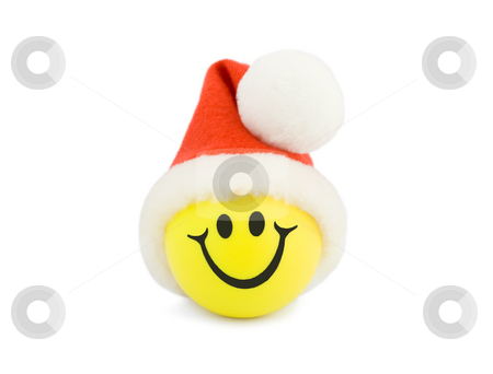Christmas Smiling  stock photo, Christmas Smiling Tennis Ball in christmas hat , isolated on white background. by Vladyslav Danilin