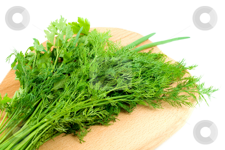 Dill parsley stock photo, Dill parsley spice herb , close-up isolated on white background by Vladyslav Danilin