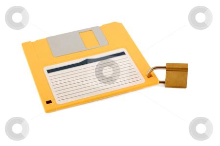 Lock diskette symbol protection  stock photo, Lock diskette symbol protection , close-up isolated on white background by Vladyslav Danilin