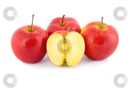 Red apple slice stock photo, Red apple slice isolated on white background by Vladyslav Danilin