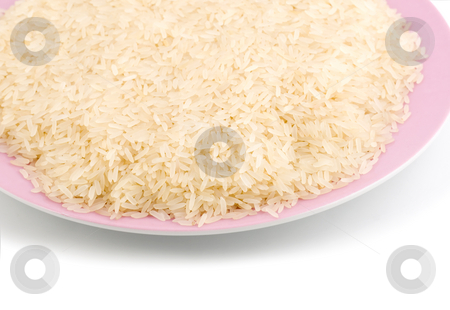Rice chinese stock photo, Rice chinese on plate isolated on white background by Vladyslav Danilin