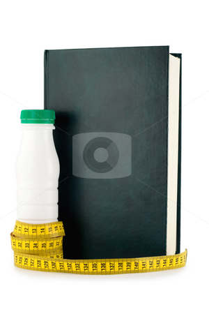 Dieting book stock photo, Measuring tape, diet book,bottle milk isolated on white background by Vladyslav Danilin