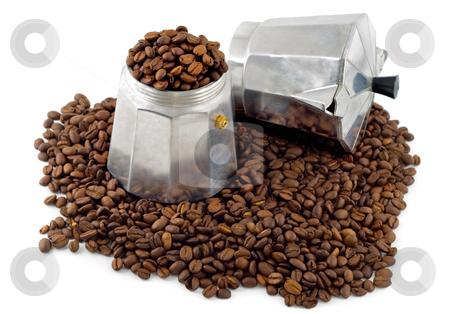 Espresso coffee maker stock photo, Espresso coffee maker on black coffee grain, isolated on white background by Vladyslav Danilin