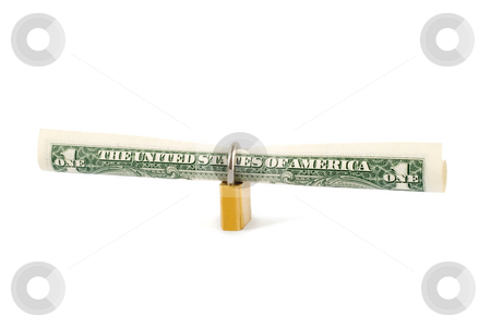 Protection dollar stock photo, Protection dollar in golden lock close-up isolated on white background by Vladyslav Danilin