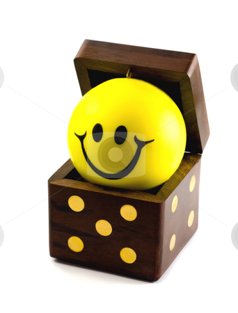 DICE with BALL SMILE stock photo, Wooden playing dice with ball smile,isolated on a white background by Vladyslav Danilin