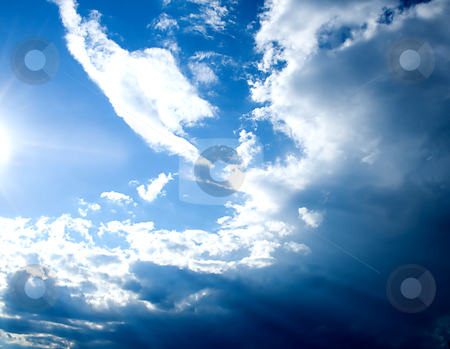Sunlight & clouds stock photo, Sunlight and clouds a beautiful sky blue background. by Vladyslav Danilin