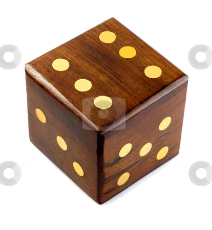 Dice stock photo, Wooden playing dice,on a white background by Vladyslav Danilin