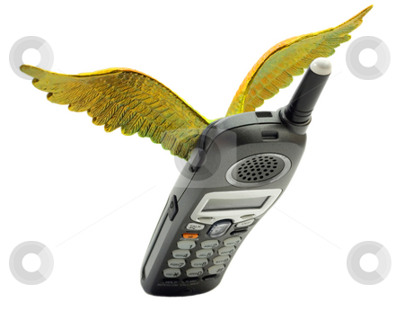 Flying Telephone  with wings  stock photo, Flying telephone  with wings  isolated on white background by Vladyslav Danilin