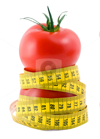 Tomato diet stock photo, Tomato diet close-up isolated on white background by Vladyslav Danilin