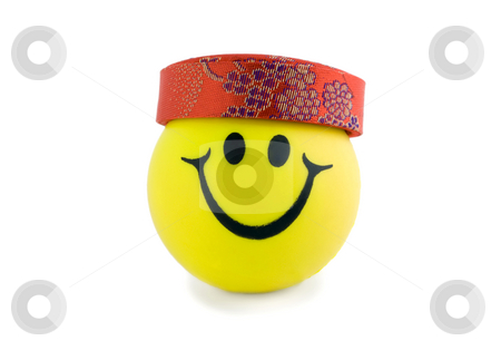 Smiling ball in hat stock photo, Smiling ball in hat close-up isolated on white background by Vladyslav Danilin