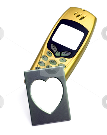 Gold phone and photo frame stock photo, Golden telephone with photo Frame in the manner of heart,isolated in white background. by Vladyslav Danilin
