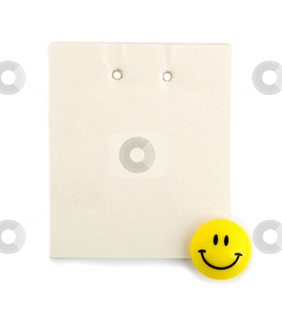Note paper stock photo, Note paper in smiling , isolated on a white background by Vladyslav Danilin