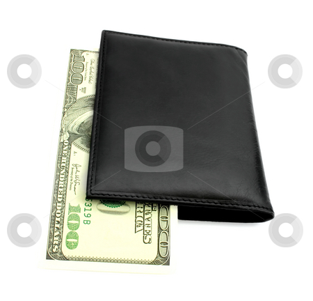 Wallet with banknotes of dollars stock photo, Wallet with banknotes of 100 dollars isolated on white background by Vladyslav Danilin