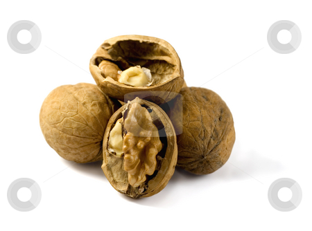 Nuts stock photo, Open nut and nuts,isolated on a white background by Vladyslav Danilin