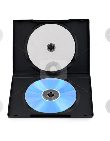 Dvd disk box with blank cover stock photo, Dvd disk box with blank cover isolated on white background by Vladyslav Danilin