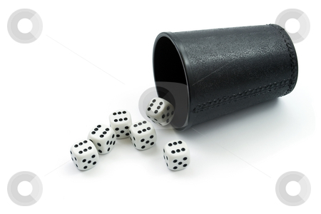 Dice and glass stock photo, Dice six and glass ,isolated on white background by Vladyslav Danilin