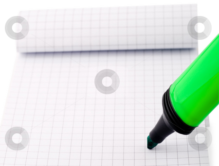 Writing on notepad stock photo, Writing on notepad information green marker by Vladyslav Danilin