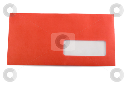 Envelope stock photo, Envelope red close-up isolated on white background by Vladyslav Danilin