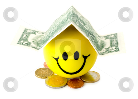 Smiling dollars stock photo, Smiling dollars house  isolated on white background by Vladyslav Danilin