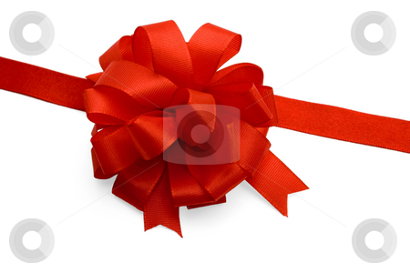 Gift ribbon and red bow stock photo, Gift ribbon and red bow,isolated on white background. by Vladyslav Danilin